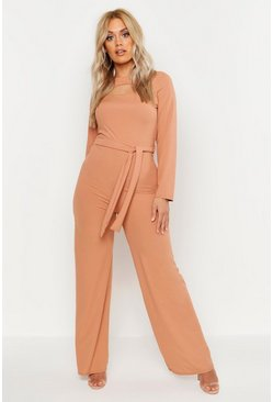 Womens Toffee Plus Ribbed Cut Out Tie Waist Jumpsuit