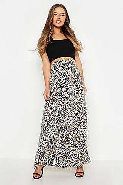 Petite Animal Print Woven Split Maxi Skirt