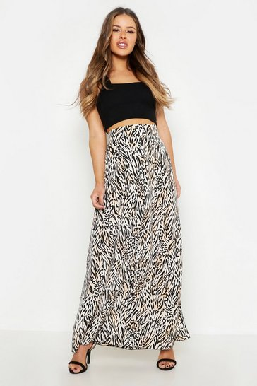 Womens Tan Petite Animal Print Woven Split Maxi Skirt
