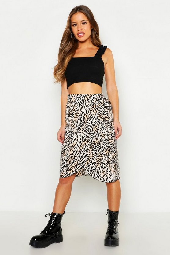 Womens Natural Petite Animal Print Wrap Skirt