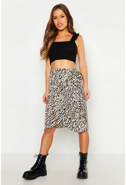 Petite Animal Print Wrap Skirt, Natural, ЖЕНСКОЕ