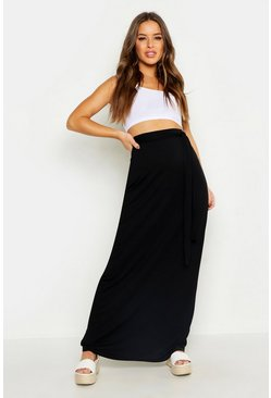 Womens Black Petite Full Wrap Maxi Skirt