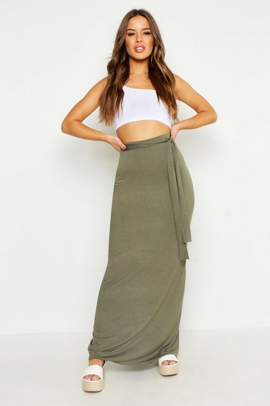 Womens Khaki Petite Full Wrap Maxi Skirt