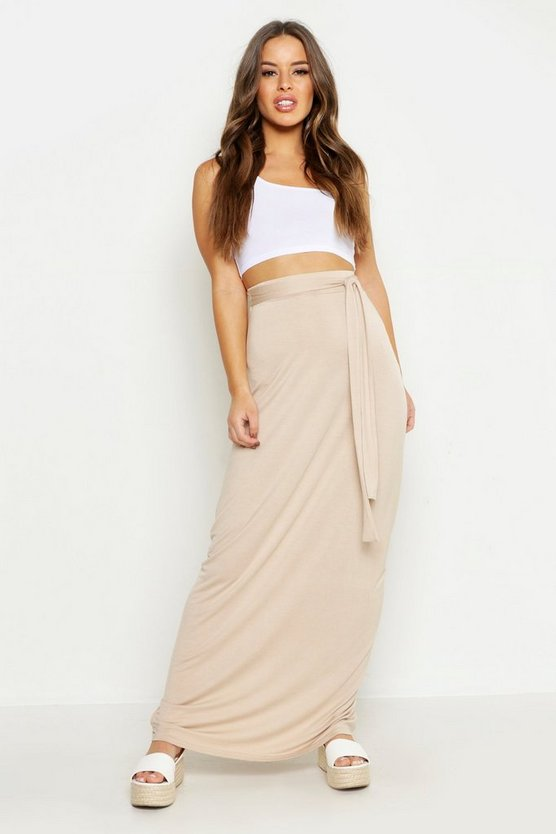 Womens Stone Petite Full Wrap Maxi Skirt