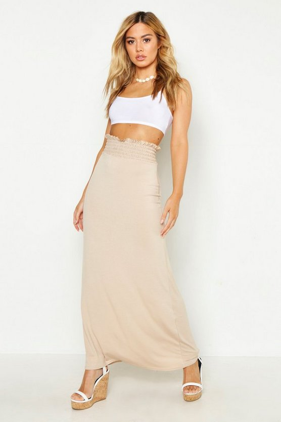 Petite Sheered Waist Maxi Skirt, Stone, DAMEN