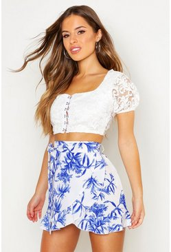 Womens Ivory Petite Floral Print Wrap Mini Skirt