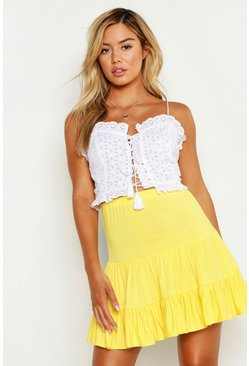Womens Yellow Petite Tiered Smock Skater Skirt