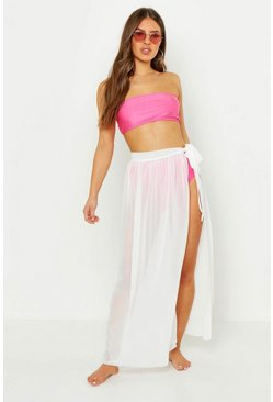 Womens White Petite Chiffon Beach Wrap Maxi Skirt