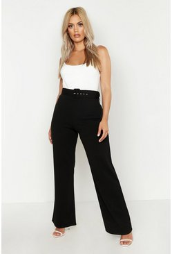 Womens Black Plus High Waist Belted Trousers