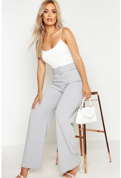 Grey Plus High Waist Belted Trousers