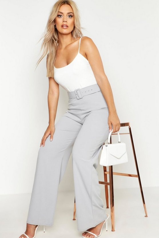 Womens Grey Plus High Waist Belted Trousers