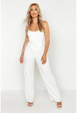 Womens Ivory Plus High Waist Belted Trousers