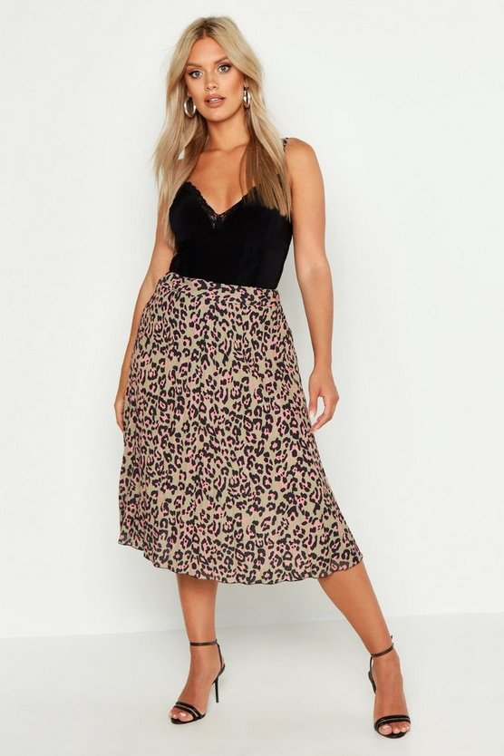 Womens Brown Plus Leopard Print Pleated Midi Skirt