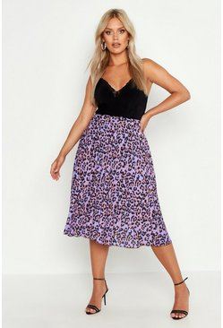 Lilac Plus Leopard Print Pleated Midi Skirt