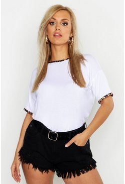 Womens White Plus Leopard Print Ringer Top