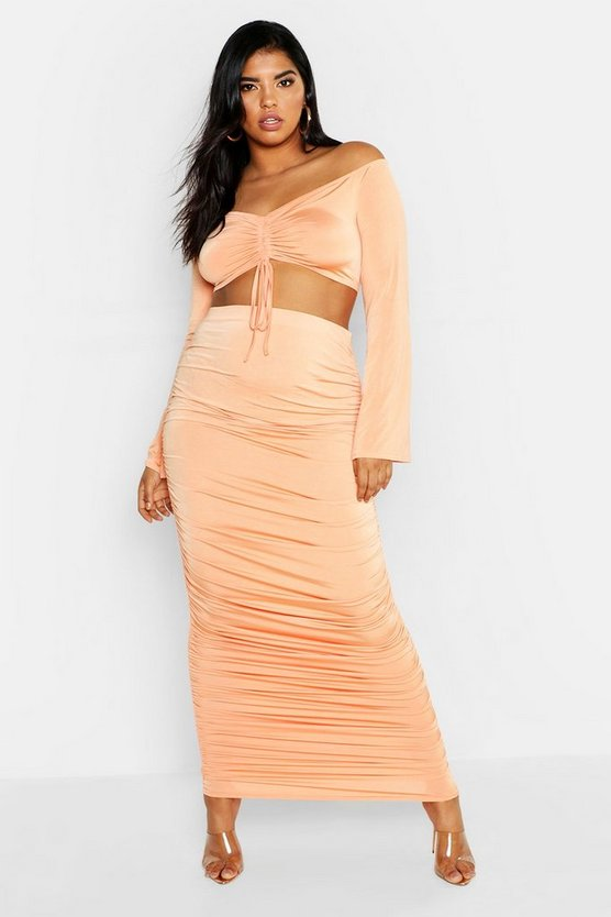 Womens Peach Plus Slinky Ruched Midaxi Skirt