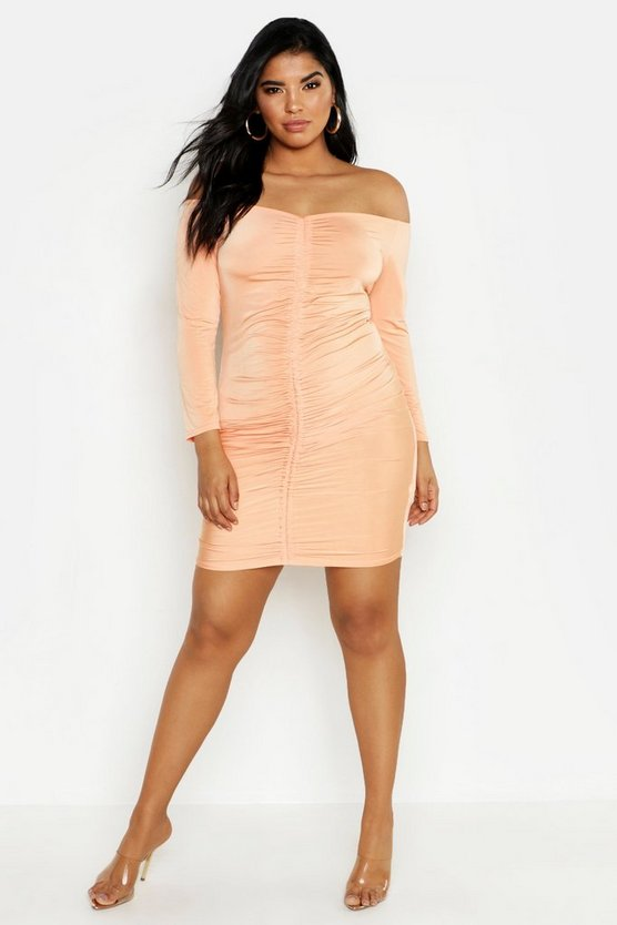 Womens Peach Plus Off Shoulder Rouched Mini Dress