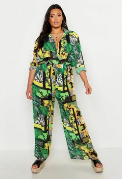 Womens Green Plus Chain Print Wide Leg Beach Trouser
