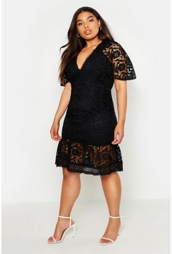 Black Plus Lace Cape Sleeve Frill Hem Midi Dress
