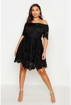 Black Plus Boutique Off The Shoulder Lace Skater Dress