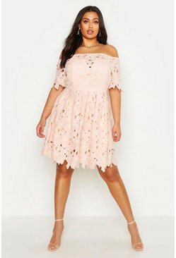 Blush Plus Boutique Off The Shoulder Lace Skater Dress