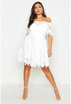 White Plus Boutique Off The Shoulder Lace Skater Dress