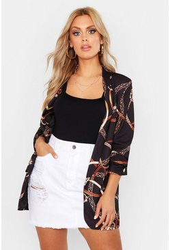 Plus blazer con stampa a catena, Nero, Femmina