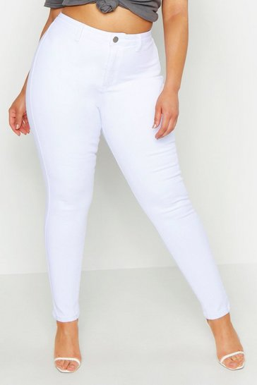 Womens White Plus Tube Jean