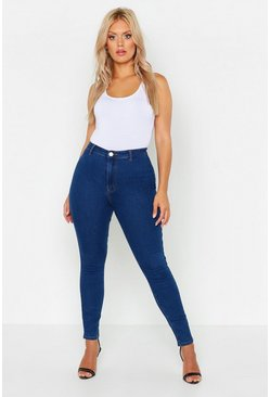 Womens Mid blue Plus Tube Jean