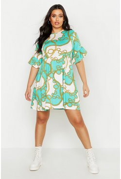 Womens Green Plus Chain Print Smock Dress
