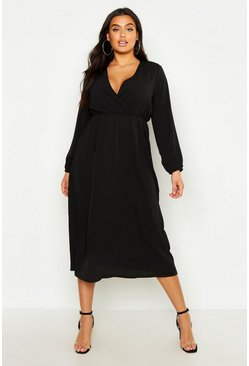 Womens Black Plus Wrap Midi Dress