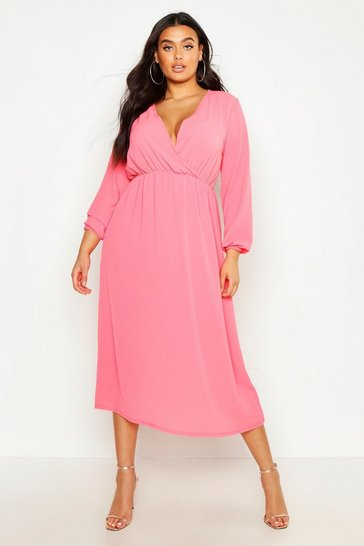 Womens Coral Plus Wrap Midi Dress