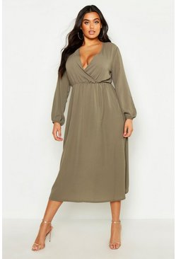 Womens Sage Plus Wrap Midi Dress