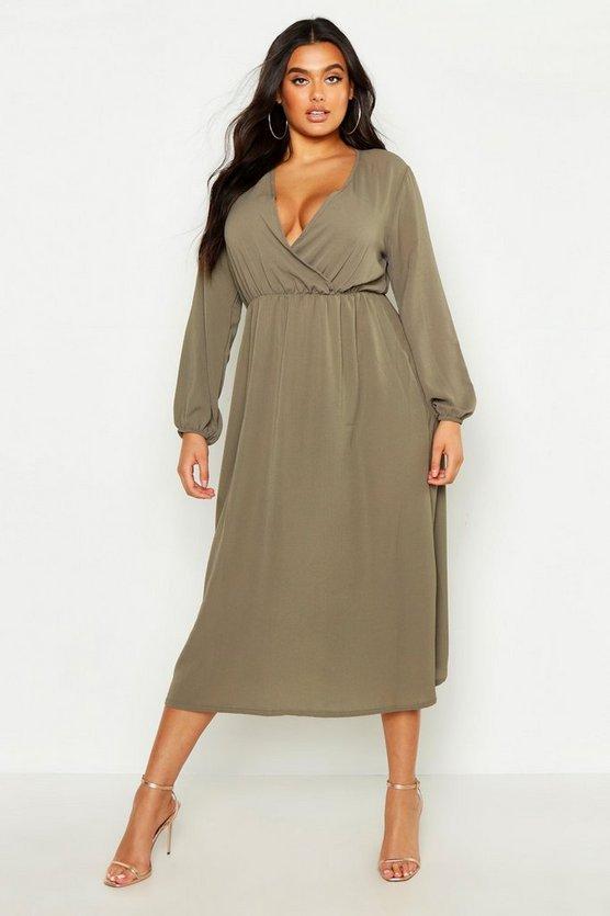 Plus Wrap Midi Dress