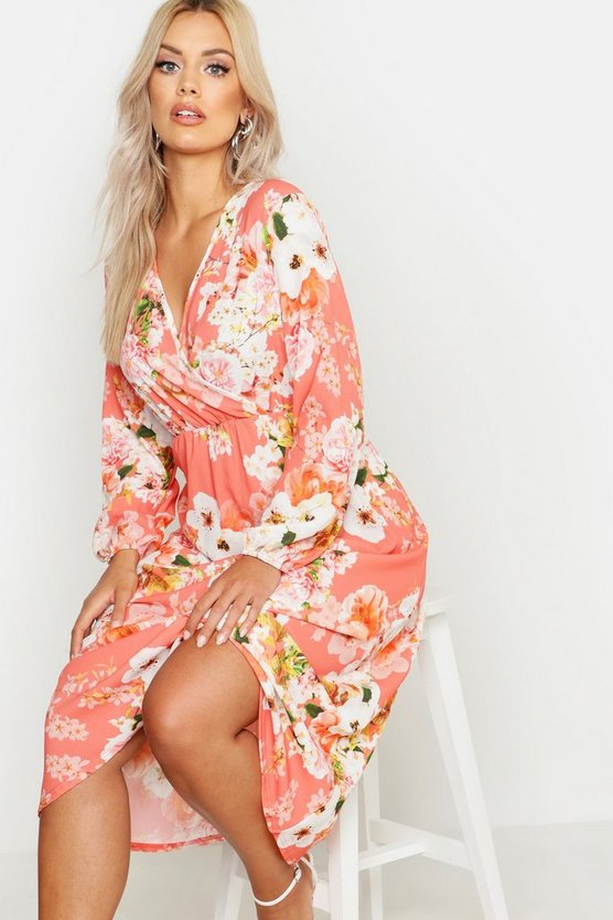 Womens Coral Plus Floral Midi Dress