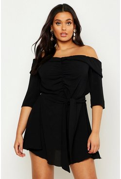 Womens Black Plus Ruched Bardot Tie Waist Skater Dress