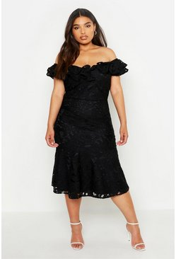 Black Plus Premium Lace Off Shoulder Midi Dress