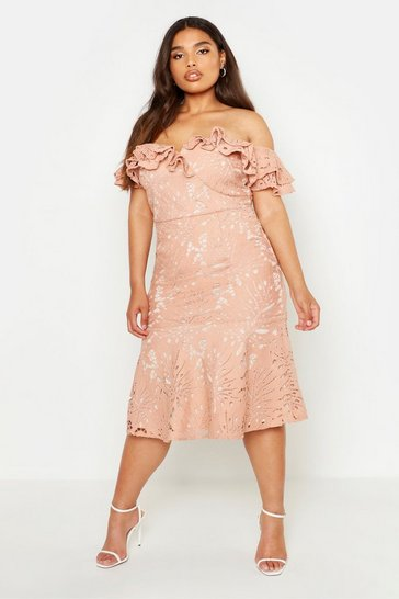Womens Blush Plus Premium Lace Off Shoulder Midi Dress