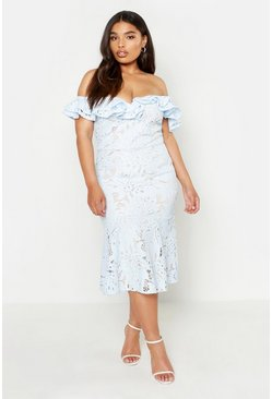 Sky Plus Premium Lace Off Shoulder Midi Dress