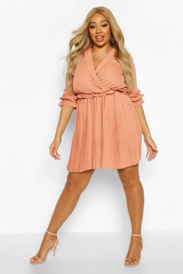 Caramel Plus Ruffle Plunge Detail Pleated Skater Dress
