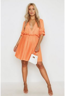 Orange Plus Ruffle Plunge Detail Pleated Skater Dress
