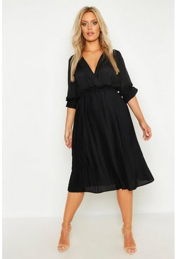 Womens Black Plus Ruffle Detail Pleated Midi Dress