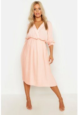 Womens Blush Plus Ruffle Detail Pleated Midi Dress