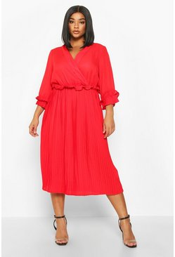 Womens Red Plus Ruffle Detail Pleated Midi Dress
