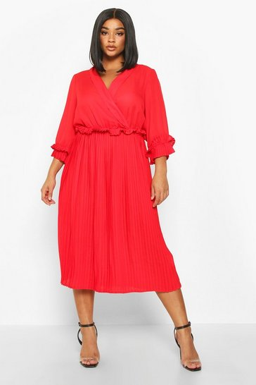 Red Plus Ruffle Detail Pleated Midi Dress
