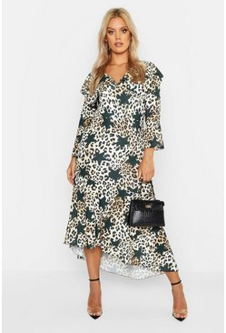 Black Plus Satin Star Leopard Ruffle Hem Maxi Dress