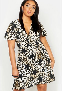 Womens Brown Plus Satin Star Leopard Wrap Tea Dress