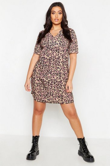 Womens Brown Plus Leopard Smock Dress