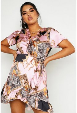 Womens Pink Plus Chain Print Ruffle Wrap Tea Dress