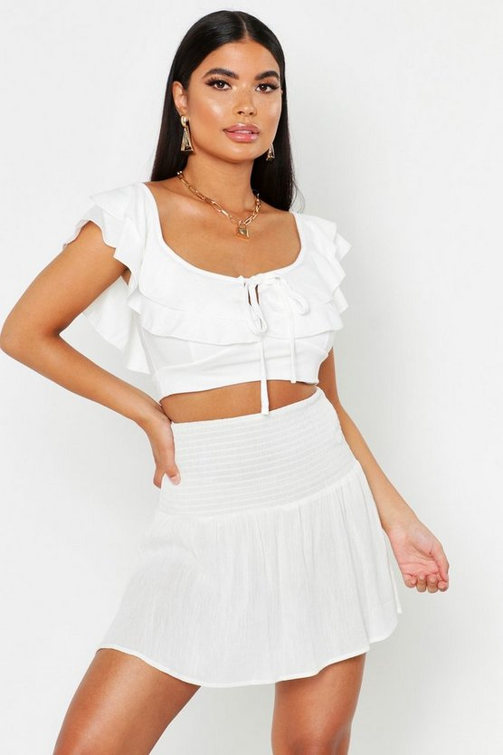 Womens Ivory Petite Double Ruffle Linen Look Top